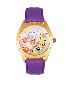 Bertha Quartz Ericka Collection Purple Leather Watch 38Mm