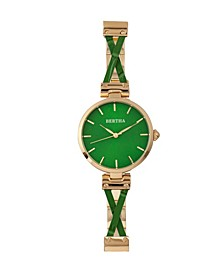 Quartz Amanda Collection Gold And Green Stainless Steel Watch 36Mm