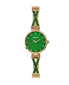 Bertha Quartz Amanda Collection Gold And Green Stainless Steel Watch 36Mm
