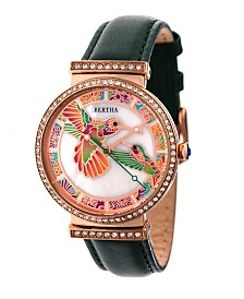 Bertha Quartz Emily Collection Rose Gold And Green Leather Watch 37Mm