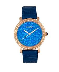 Quartz Courtney Collection Blue Leather Watch 37Mm