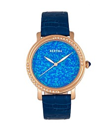 Bertha Quartz Courtney Collection Blue Leather Watch 37Mm