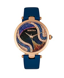 Quartz Trisha Collection Blue Leather Watch 39Mm