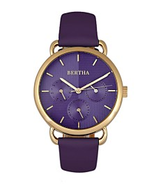 Bertha Quartz Gwen Collection Purple Leather Watch 36Mm