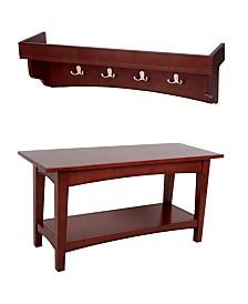 Shaker Cottage Tray Shelf Coat Hook with Bench Set, Cherry