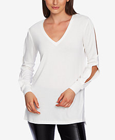 1.STATE Split-Sleeve V-Neck Top