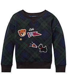 Polo Ralph Lauren Toddler Girls Patchwork Cotton Tartan Sweatshirt
