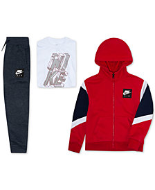 Nike Toddler Boys Colorblocked Zip-Up Hoodie, Logo-Print T-Shirt & Fleece Jogger Pants