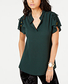 MICHAEL Micheal Kors Lace-Up-Shoulder Top