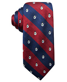 Club Room Men's Holiday Snowman Stripe Silk Tie, Created for Macy's