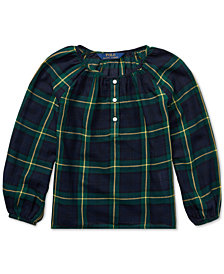 Polo Ralph Lauren Little Girls Tartan Plaid Cotton Top