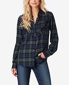 Jessica Simpson Juniors' Ruffled Plaid Shirt