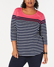 Karen Scott Plus Size Striped Elbow-Sleeve Top, Created for Macy's