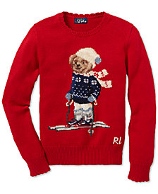 Polo Ralph Lauren Big Girls Polo Bear Cotton Sweater