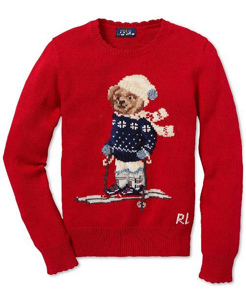 81293cf92fba Polo Ralph Lauren Big Girls Polo Bear Cotton Sweater   Reviews ...