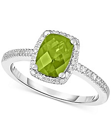 Peridot (1-1/4 ct. t.w.) & Diamond (1/8 ct. t.w.) Ring in 14k White Gold (Also in Rhodolite Garnet, Blue Topaz & Amethyst)