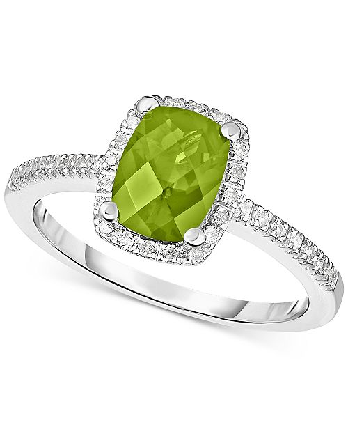 Macy's Peridot (1-1/4 ct. t.w.) & Diamond (1/8 ct. t.w.) Ring in 14k White Gold (Also in Rhodolite Garnet, Blue Topaz & Amethyst)