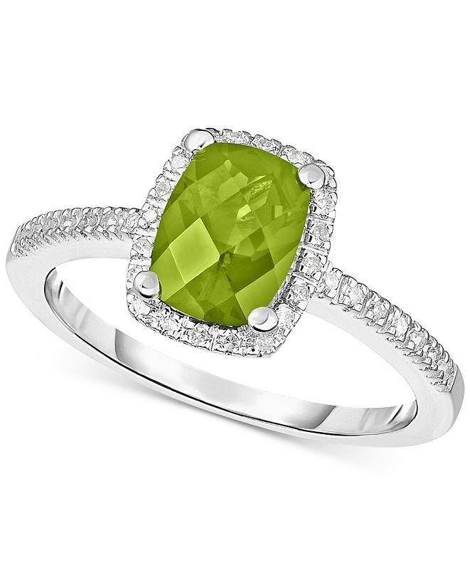 Macy's Peridot (1-1/4 ct. t.w.) & Diamond (1/8 ct. t.w.) Ring in 14k White Gold (Also in Rhodolite Garnet, Blue Topaz & Amethyst)