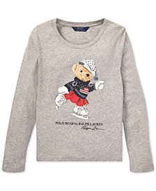 Polo Ralph Lauren Big Girls Ice Skating Bear Long-Sleeve Cotton T-Shirt