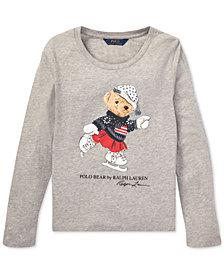 Polo Ralph Lauren Big Girls Ice Skating Bear Long-Sleeve Cotton T-Shirt