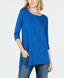 Eileen Fisher Stretch Jersey Boat-Neck Asymmetrical Top, Regular & Petite, Created for Macy's