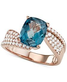 London Blue Topaz (3-1/3 ct. t.w.) & Diamond (1/2 ct. t.w.) Ring in 14k Rose Gold