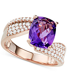 Amethyst (2-3/4 ct. t.w.) & Diamond (1/2 ct. t.w.) Ring in 14k Rose Gold
