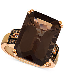 Le Vian® Smoky Quartz (11-7/8 ct. t.w.) & Diamond (1/6 ct. t.w.) Ring in 14k Rose Gold