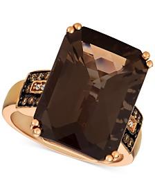 Le Vian® Smoky Quartz (11-7/8 ct. t.w.) & Diamond (1/6 ct. t.w.) Ring in 14k Rose Gold