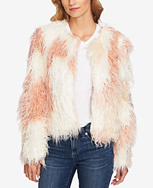 CeCe Two-Tone Shaggy Faux-Fur Jacket