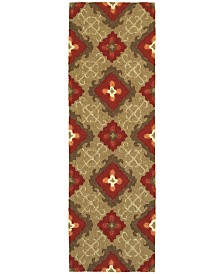 "CLOSEOUT! Tommy Bahama Home   Atrium Indoor/Outdoor 51109 Brown/Red 2'6"" x 8' Runner Area Rug"