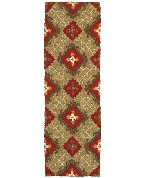 "Tommy Bahama Home CLOSEOUT!   Atrium Indoor/Outdoor 51109 Brown/Red 2'6"" x 8' Runner Area Rug"