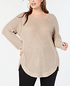 I.N.C. Plus Size Waffle-Knit Side-Zip Sweater, Created for Macy's
