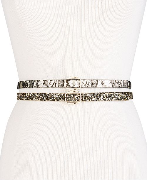 INC International Concepts I.N.C. Glitter & Lace 2-for-1 Skinny Belts, Created for Macy's