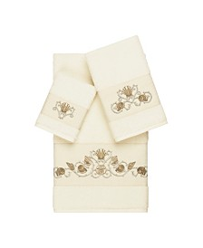 Linum Home Bella 3-Pc. Embroidered Turkish Cotton Towel Set