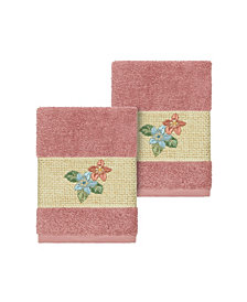 Linum Home Caroline 2-Pc. Embroidered Turkish Cotton Washcloth Set