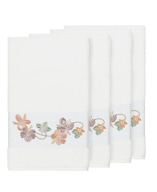 Linum Home Caroline 4-Pc. Embroidered Turkish Cotton Bath Towel Set