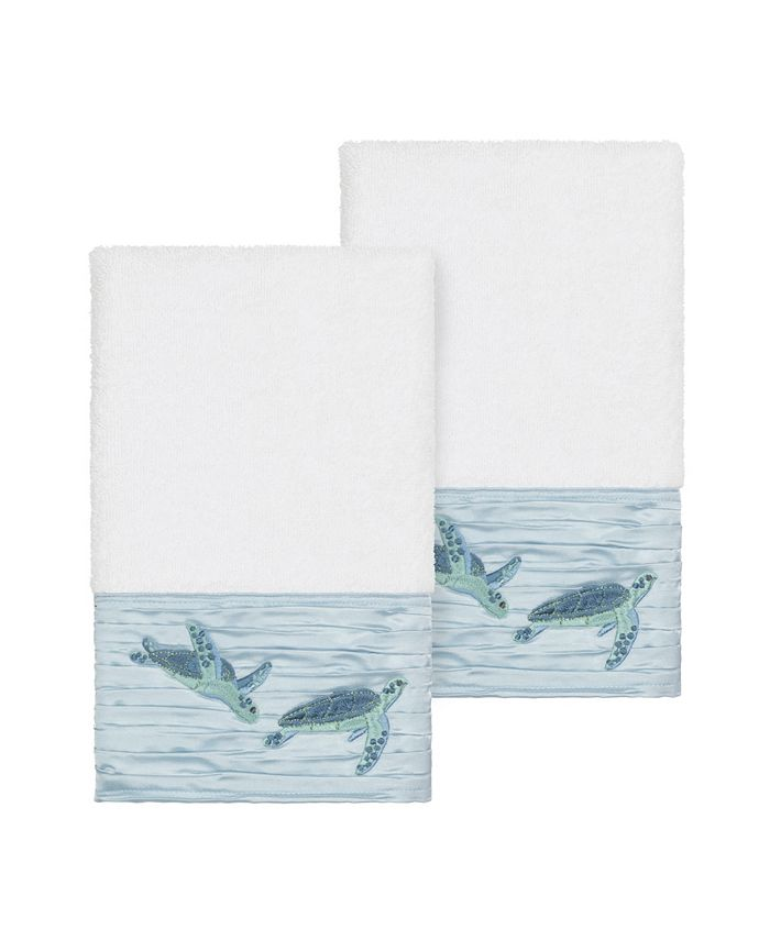 Linum Home - Mia 2-Pc. Embroidered Turkish Cotton Hand Towel Set