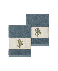 Linum Home Mila 2-Pc. Embroidered Turkish Cotton Washcloth Set