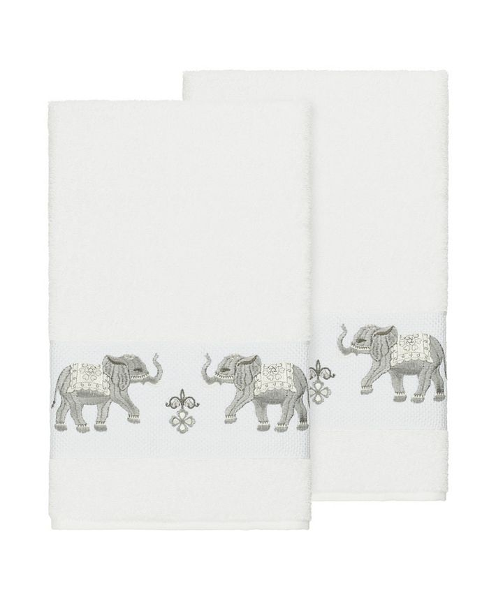 Linum Home - Quinn 2-Pc. Embroidered Turkish Cotton Bath Towel Set