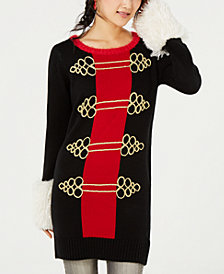 Hooked Up by IOT Juniors' Nutcracker Embellished Sweater Tunic
