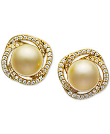 Cultured Golden South Sea Pearl (9mm) & Diamond (3/8 ct. t.w.) Stud Earrings in 14k Gold
