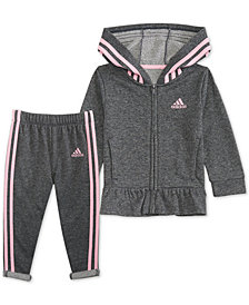 adidas Baby Girls 2-Pc. Sparkle Hooded Jacket & Pants Set
