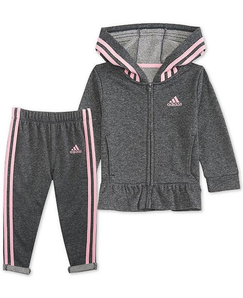 af3a6c6e1 adidas Baby Girls 2-Pc. Sparkle Hooded Jacket & Pants Set & Reviews ...