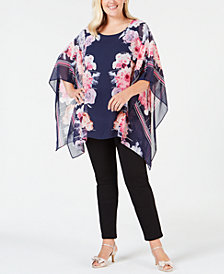 JM Collection Plus Size Printed Chiffon Poncho Top, Created for Macy's