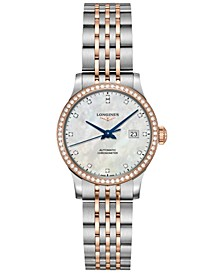 Women's Swiss Automatic Record Diamond (1/2 ct. t.w.) Stainless Steel & 18K Rose Gold Cap 200 Bracelet Watch 30mm
