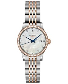 Longines Women's Swiss Automatic Record Diamond (1/2 ct. t.w.) Stainless Steel & 18K Rose Gold Cap 200 Bracelet Watch 30mm