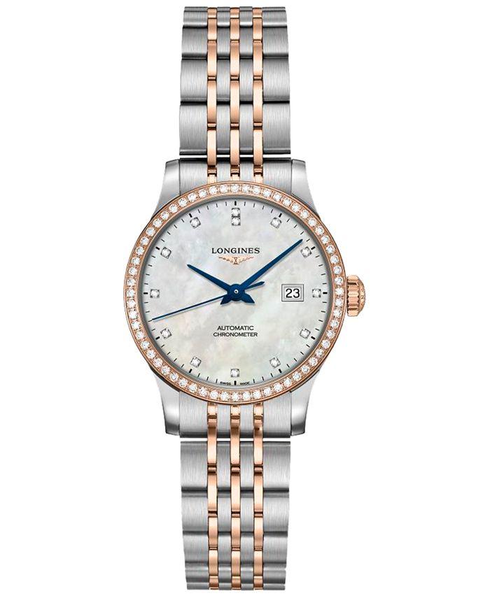 Longines - Women's Swiss Automatic Record Diamond (1/2 ct. t.w.) Stainless Steel & 18K Rose Gold Cap 200 Bracelet Watch 30mm