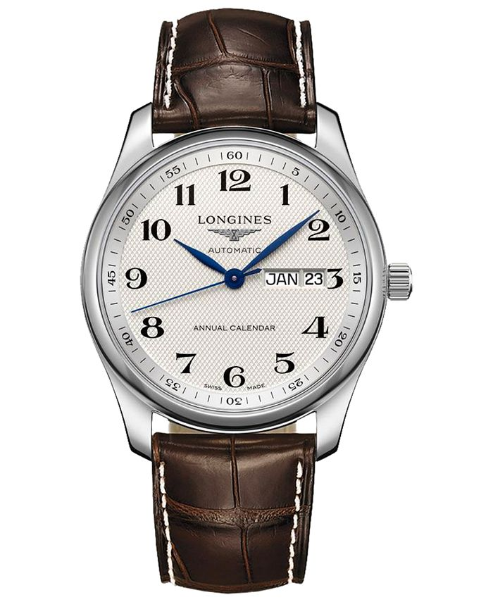 Longines - Men's Swiss Automatic Master Brown Alligator Leather Strap Watch 40mm