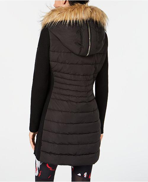 Calvin Klein Sweater Sleeve Faux Fur Hooded Walker Jacket